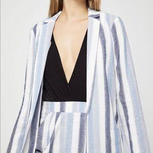 Bcbg striped cotton long blazer